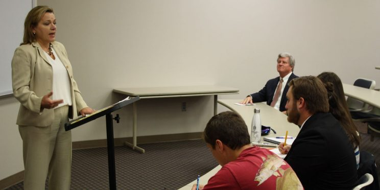 Alabama State Bar President Christy Crow speaks to students at Faulkner University