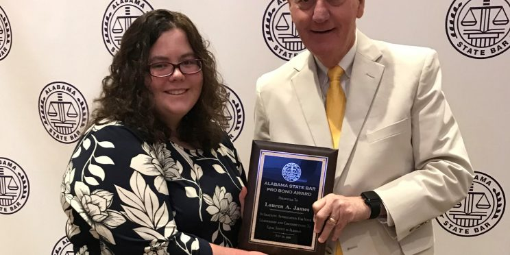 Lauren James is awarded the Pro Bono Award. Photo credit, Alabama State Bar